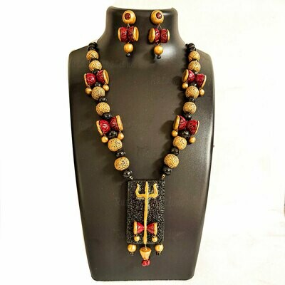 Terracotta Jewellery Necklace Set - NH430