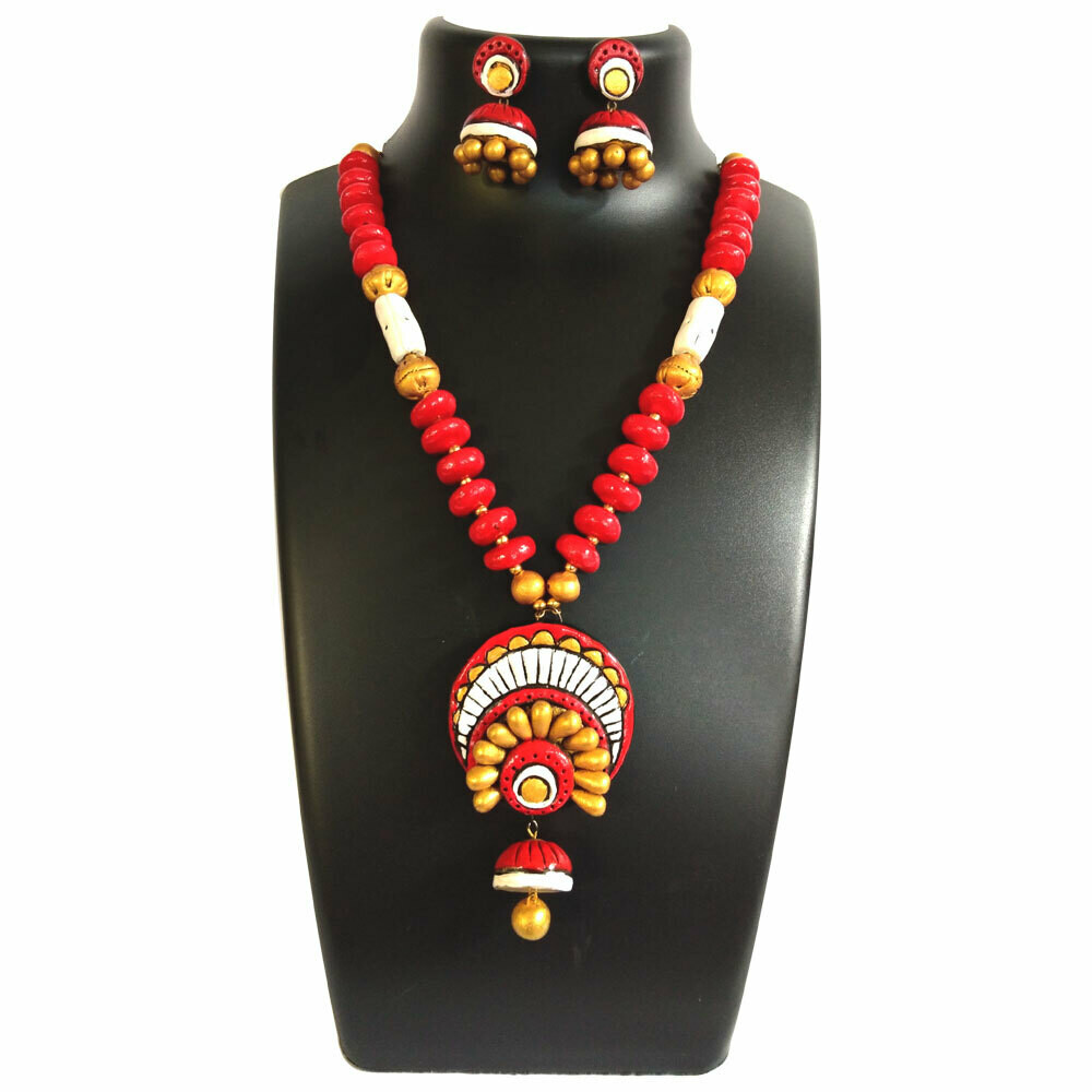 Terracotta Jewellery Necklace Set - NH225