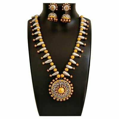 Terracotta Jewellery Necklace Set - NH450