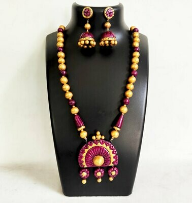 Terracotta Jewellery Necklace Set - NH470