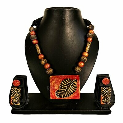 Terracotta Jewellery Necklace Set - NH480