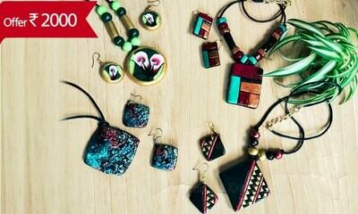 Terracotta Jewellery Necklace Set Combo -CM102