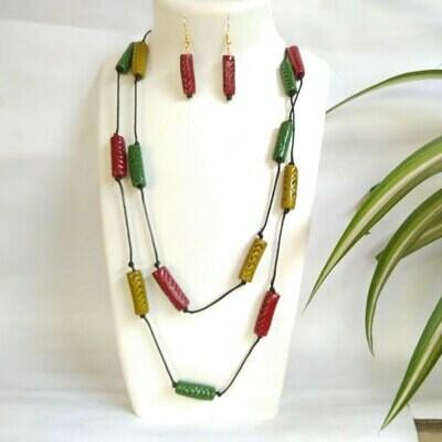 Terracotta Jewellery Necklace Set - NL380