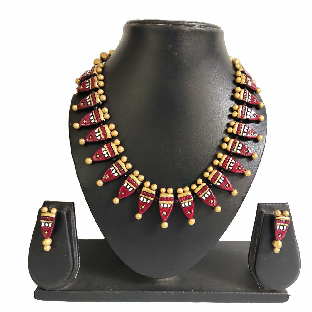 Terracotta Jewellery Necklace Set - NH510