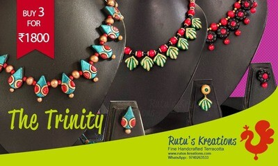 Terracotta Jewellery Necklace Set Combo - CM104
