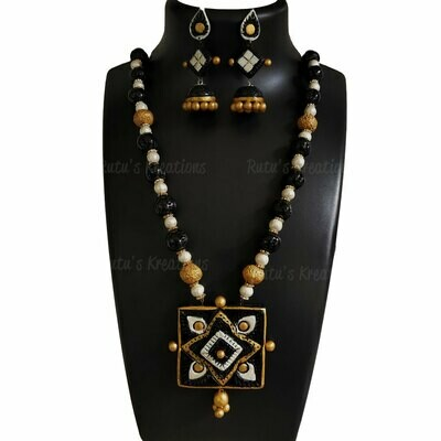 Terracotta Jewellery Necklace Set - NH520