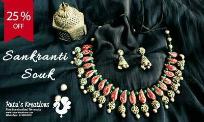 Terracotta Jewellery Necklace Set - NH530