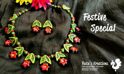 Terracotta Jewellery Necklace Set - NH540