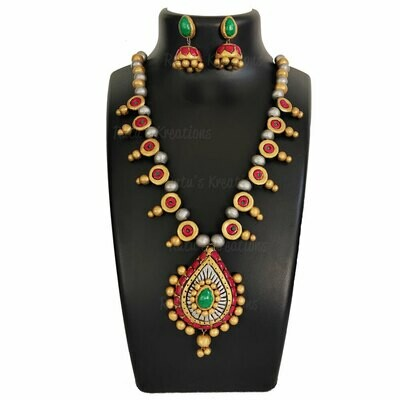 Terracotta Jewellery Necklace Set - NH570