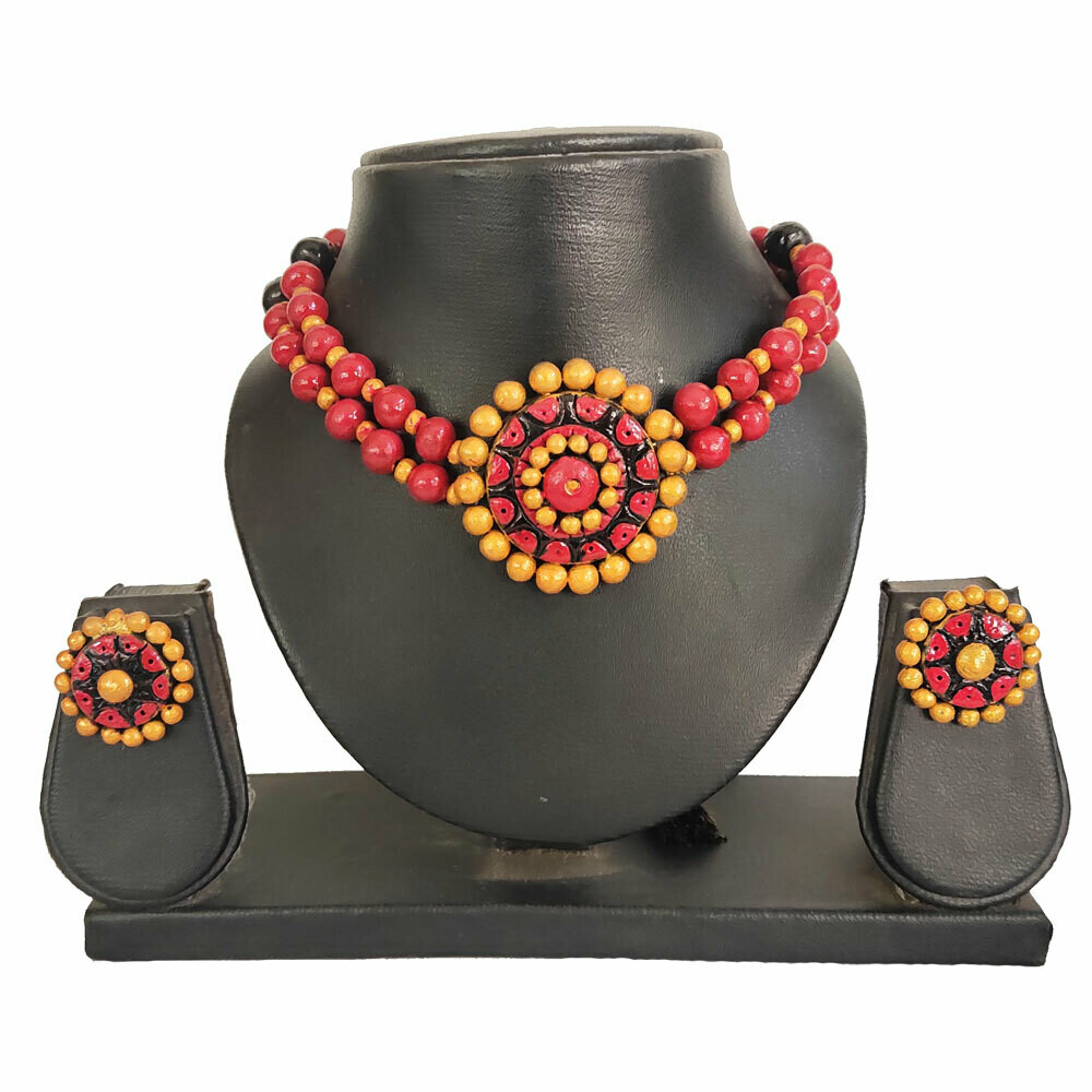 Terracotta Jewellery Necklace Set - NH580