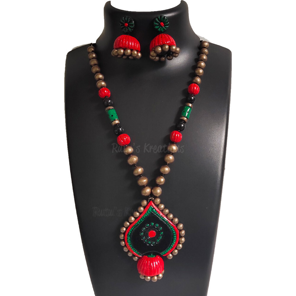 Terracotta Jewellery Necklace Set - NH650