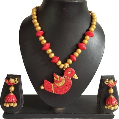 Terracotta Jewellery Necklace Set - NH380