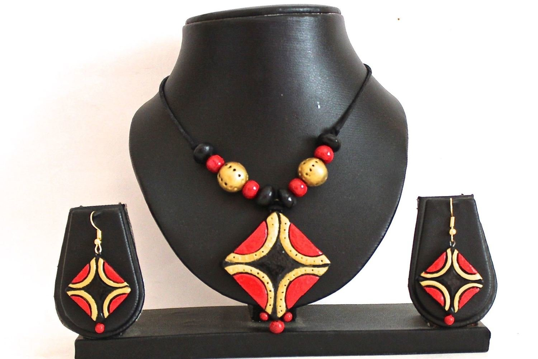 Terracotta Jewellery Necklace Set - NL079