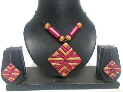 Terracotta Jewellery Necklace Set - NL082