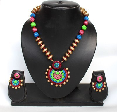 Terracotta Jewellery Necklace Set - NH116