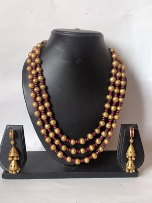 Terracotta Jewellery Necklace Set - NH084