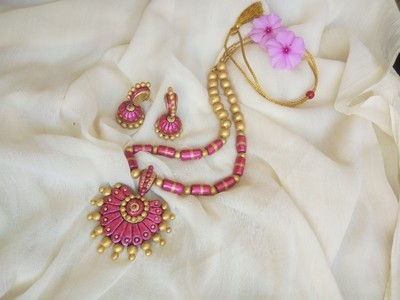 Terracotta Jewellery Necklace Set - NH210