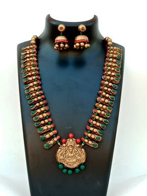 Terracotta Jewellery Necklace Set - NH123