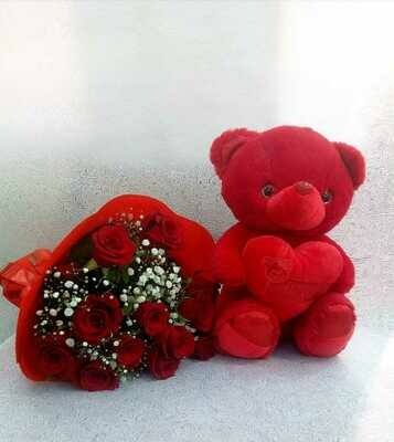 12 Roses Bouquet With Teddy Bear.