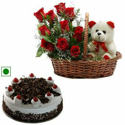 Flowers with Teddy Bear and Cake (Combo)