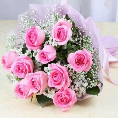 Bouquet of a Dozen Pink Roses