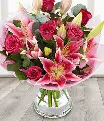 12 Pink Roses with 3 Lilies