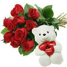 10 Red Roses with a Teddy