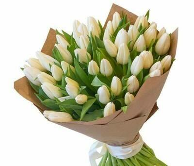 51 White Tulips Bouquet