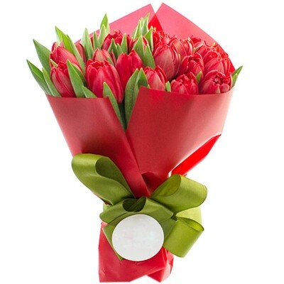 Bouquet of 25 Red Tulips