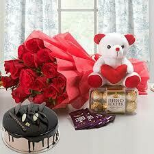 Bouquet with Teddy, Cake and Chocolates (Combo)