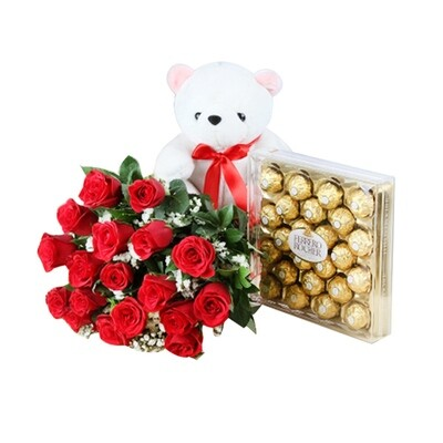 Bouquet With Teddy & Chocolate (Combo)