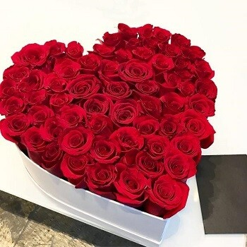 Red Roses In A Heart Box