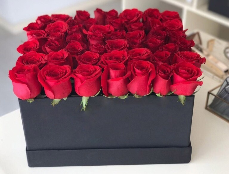 Red Roses In A Box.