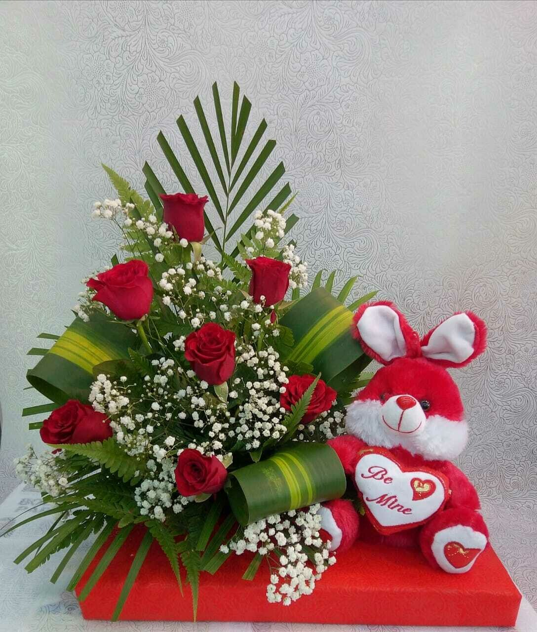 Roses with Soft Toy