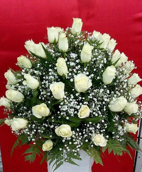 White Roses Round Arrangement