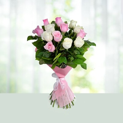 12 Pink & White Roses Bouquet