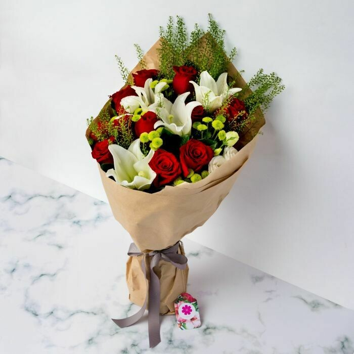 12 Red Roses with 3 White Lilies