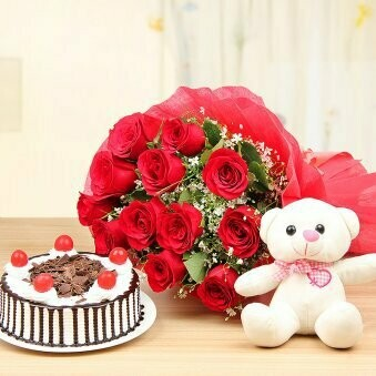 Bouquet with Teddy Bear and Cake (Combo)