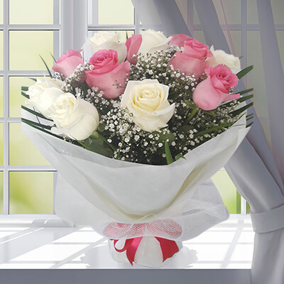 Round Bouquet of Pink and White Roses