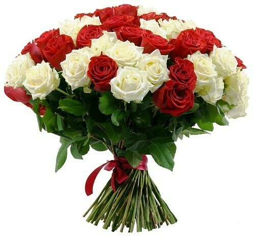 101 Red and White Roses Bouquet