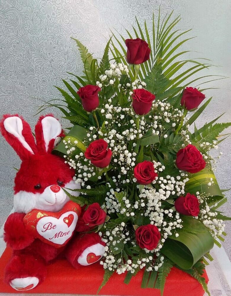 Red Roses in a Basket with Soft toy