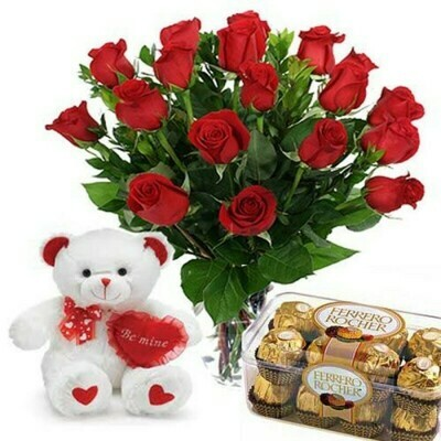 Red Roses with Chocolate And Teddy.(DEAL)