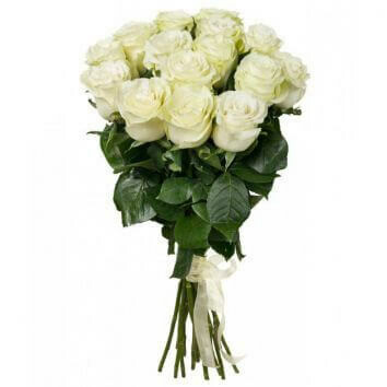 15 White Roses Bouquet
