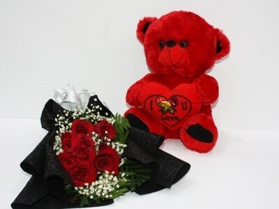 10 Roses Bouquet with Teddy