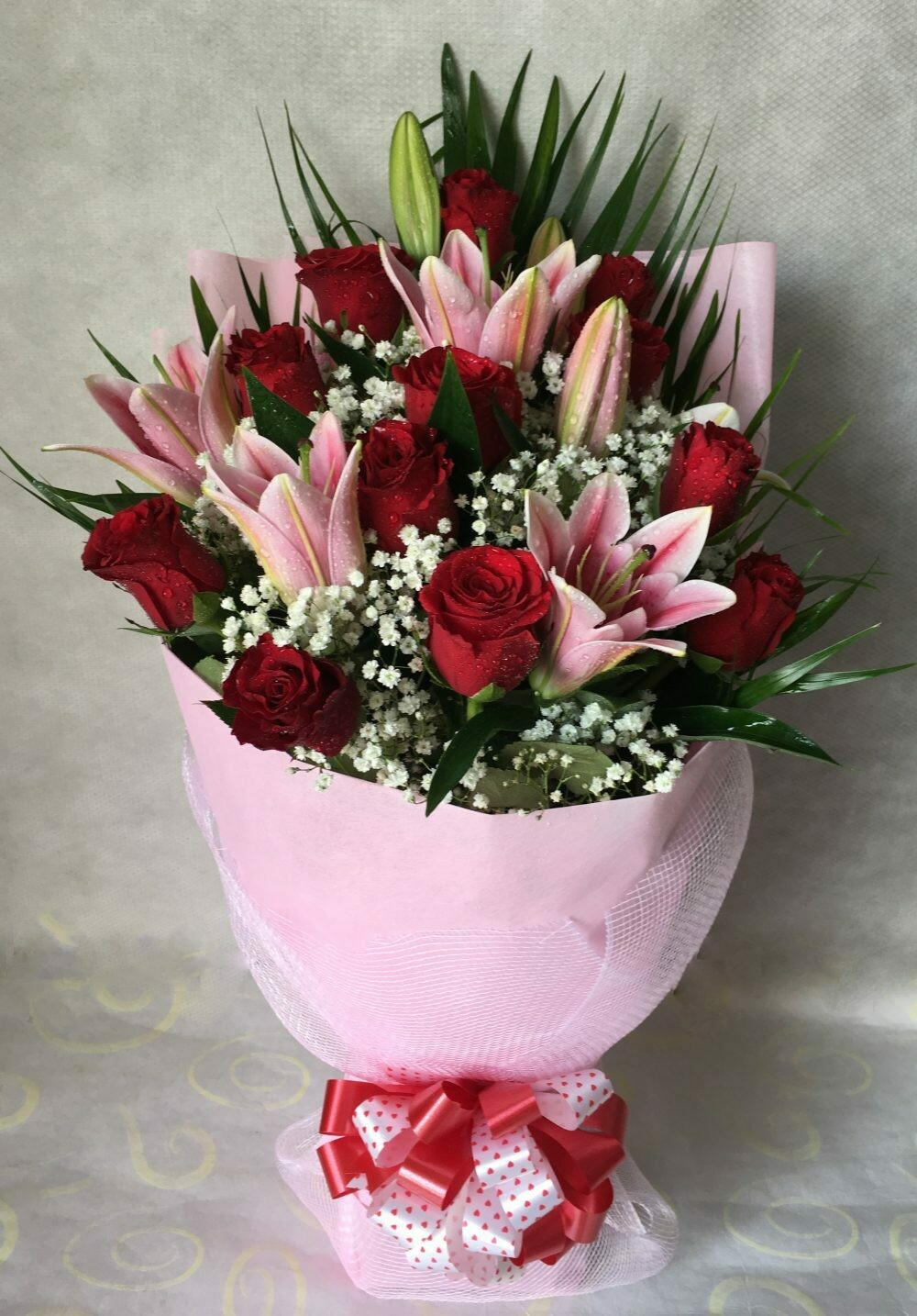 12 Red Roses with 3 lilies