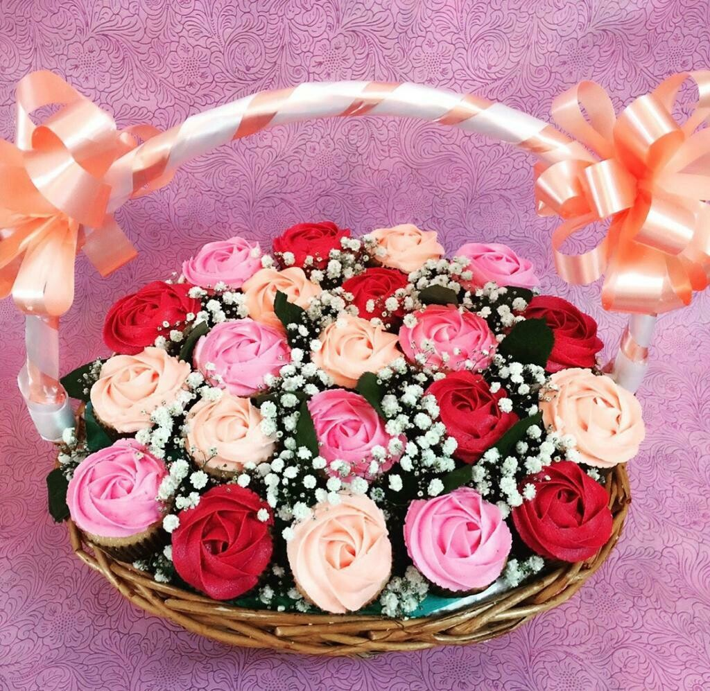 A Basket Of 24 Cup Cakes