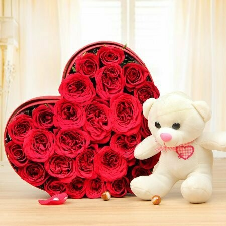 20 Roses in a Heart Box with Teddy