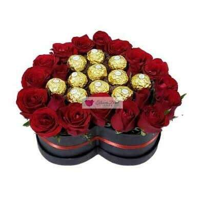 20 Roses with Chocolate in Heart Box