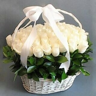 White Roses in a Basket.