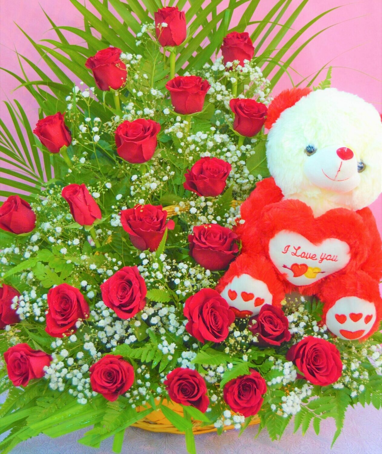 Red Roses Arrangement with Teddy